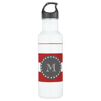 Red White Stripes Pattern, Charcoal Monogram Stainless Steel Water Bottle