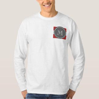 Red White Stripes Pattern, Charcoal Monogram T Shirt