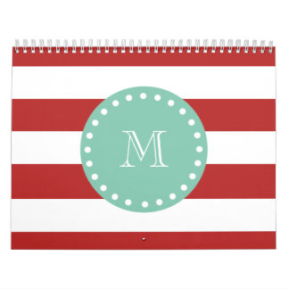 Red White Stripes Pattern, Mint Green Monogram Wall Calendar