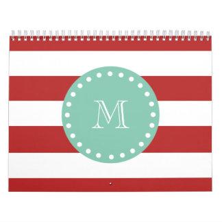 Red White Stripes Pattern, Mint Green Monogram Calendar