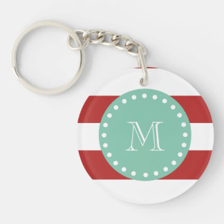 Red White Stripes Pattern, Mint Green Monogram Keychain