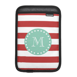 Red White Stripes Pattern, Mint Green Monogram Sleeve For iPad Mini