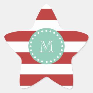 Red White Stripes Pattern, Mint Green Monogram Star Sticker