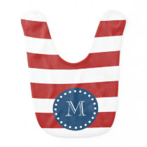 Red White Stripes Pattern, Navy Blue Monogram Baby Bib