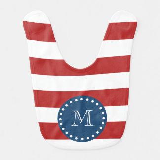Red White Stripes Pattern, Navy Blue Monogram Baby Bib