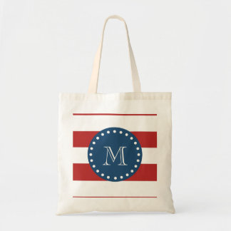 Red White Stripes Pattern, Navy Blue Monogram Budget Tote Bag