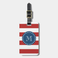 Red White Stripes Pattern, Navy Blue Monogram Bag Tag