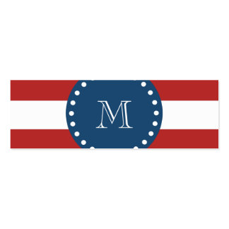 Red White Stripes Pattern Navy Blue Monogram Business Card Template