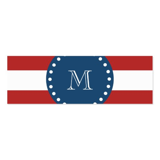 Red White Stripes Pattern, Navy Blue Monogram Business Card Template