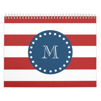 Red White Stripes Pattern, Navy Blue Monogram Wall Calendars