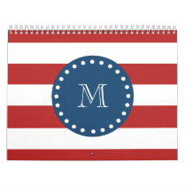 Red White Stripes Pattern, Navy Blue Monogram Calendar