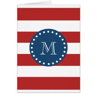 Red White Stripes Pattern, Navy Blue Monogram Card