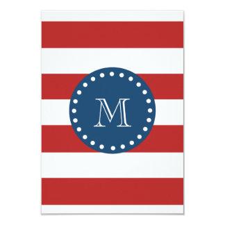Red White Stripes Pattern, Navy Blue Monogram Card