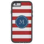 Red White Stripes Pattern, Navy Blue Monogram Tough Xtreme iPhone 6 Case