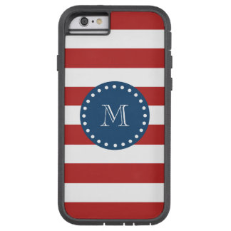 Red White Stripes Pattern, Navy Blue Monogram Tough Xtreme iPhone 6 Case
