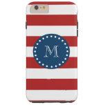 Red White Stripes Pattern, Navy Blue Monogram Tough iPhone 6 Plus Case