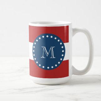 Red White Stripes Pattern, Navy Blue Monogram Coffee Mug