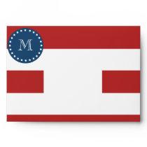 Red White Stripes Pattern, Navy Blue Monogram Envelope