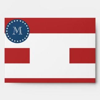 Red White Stripes Pattern, Navy Blue Monogram Envelopes