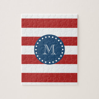 Red White Stripes Pattern, Navy Blue Monogram Jigsaw Puzzle