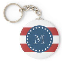 Red White Stripes Pattern, Navy Blue Monogram Keychain