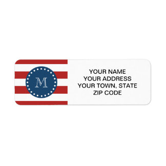 Red White Stripes Pattern, Navy Blue Monogram Label