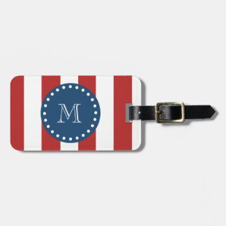 Red White Stripes Pattern, Navy Blue Monogram Bag Tags