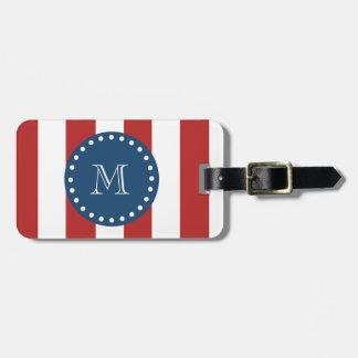 Red White Stripes Pattern, Navy Blue Monogram Bag Tags