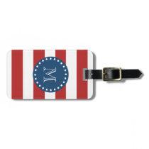 Red White Stripes Pattern, Navy Blue Monogram Luggage Tags