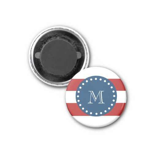 Red White Stripes Pattern, Navy Blue Monogram 1 Inch Round Magnet