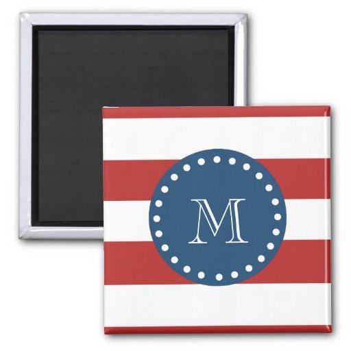 Red White Stripes Pattern, Navy Blue Monogram Refrigerator Magnets