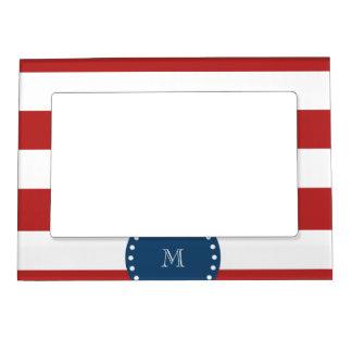 Red White Stripes Pattern, Navy Blue Monogram Magnetic Photo Frame