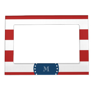 Red White Stripes Pattern, Navy Blue Monogram Magnetic Picture Frame
