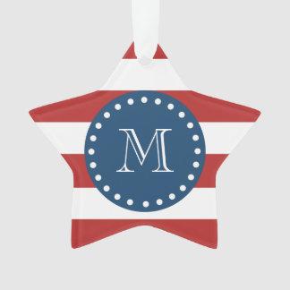 Red White Stripes Pattern, Navy Blue Monogram Ornament