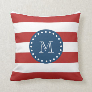 Red White Stripes Pattern, Navy Blue Monogram Pillow