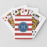 "Red White Stripes Pattern, Navy Blue Monogram Playing Cards<br><div class=""desc"">A simple, modern, red and white stripes pattern with your initial in a modern font, on a preppy, nautical, navy blue circle label, banner, frame with a dotted white line border. GraphicsByMimi&#169; Trendy, stylish, mod, bold lines pattern you can personalize with your monogram for her. Use the template field to...</div>"