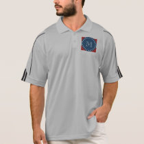 Red White Stripes Pattern, Navy Blue Monogram Polo Shirt