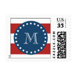 Red White Stripes Pattern, Navy Blue Monogram Postage Stamp