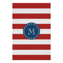 Red White Stripes Pattern, Navy Blue Monogram Poster
