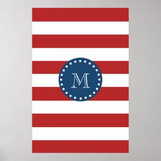 Red White Stripes Pattern, Navy Blue Monogram Poster