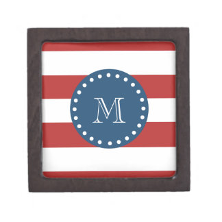 Red White Stripes Pattern, Navy Blue Monogram Premium Keepsake Boxes