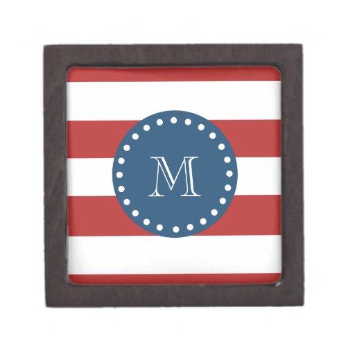 Red White Stripes Pattern, Navy Blue Monogram Premium Keepsake Boxes