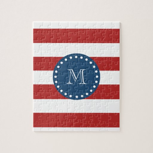 Red White Stripes Pattern, Navy Blue Monogram Puzzle