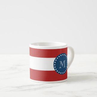 Red White Stripes Pattern, Navy Blue Monogram Espresso Mugs