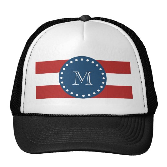 Red White Stripes Pattern, Navy Blue Monogram Trucker Hat
