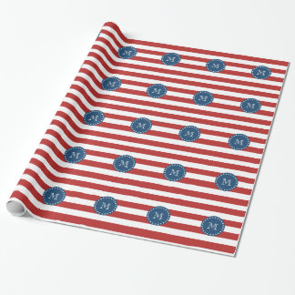 Red White Stripes Pattern, Navy Blue Monogram Wrapping Paper