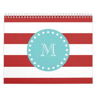 Red White Stripes Pattern, Teal Monogram Calendar