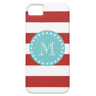 Red White Stripes Pattern, Teal Monogram iPhone 5 Case