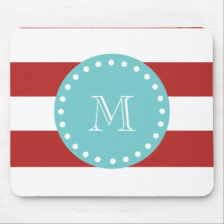 Red White Stripes Pattern, Teal Monogram Mouse Pad