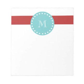Red White Stripes Pattern Teal Monogram Memo Pads